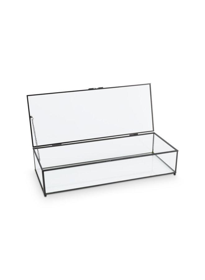 Storage Box Glass with Metal Black Frame