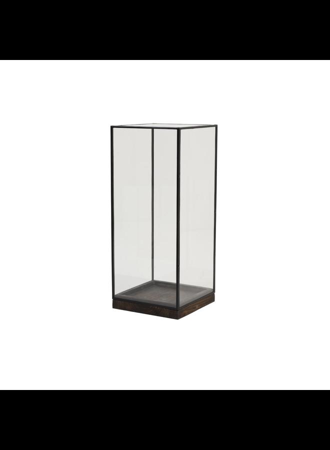Stolp 20x20x45 cm ASKJER hout bruin+zwart+glas