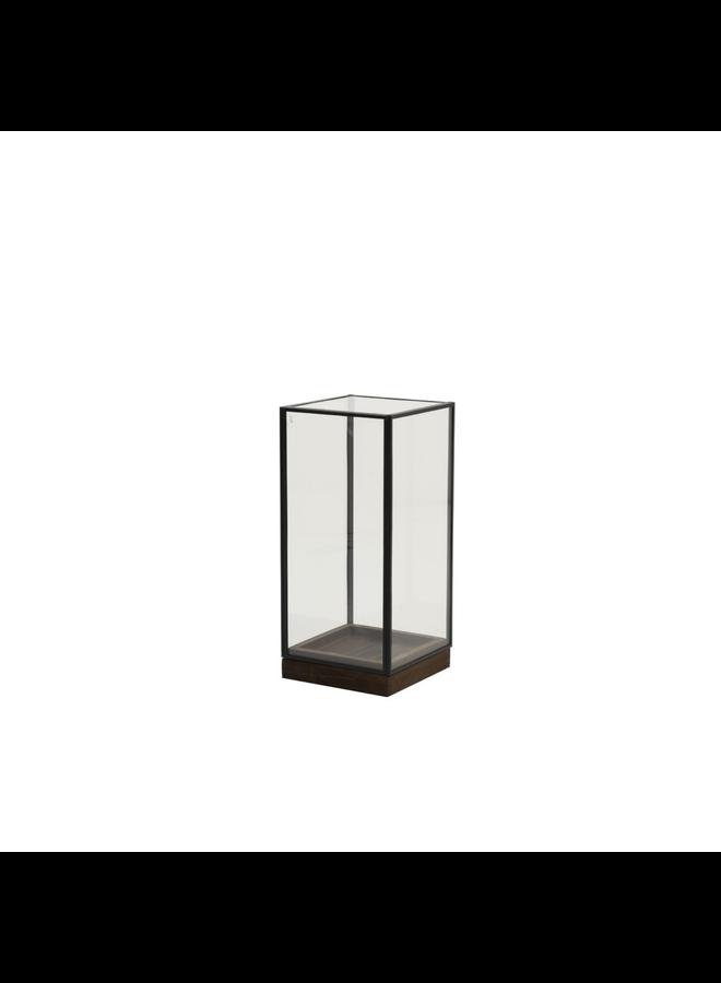 Stolp 15x15x30 cm ASKJER hout bruin+zwart+glas