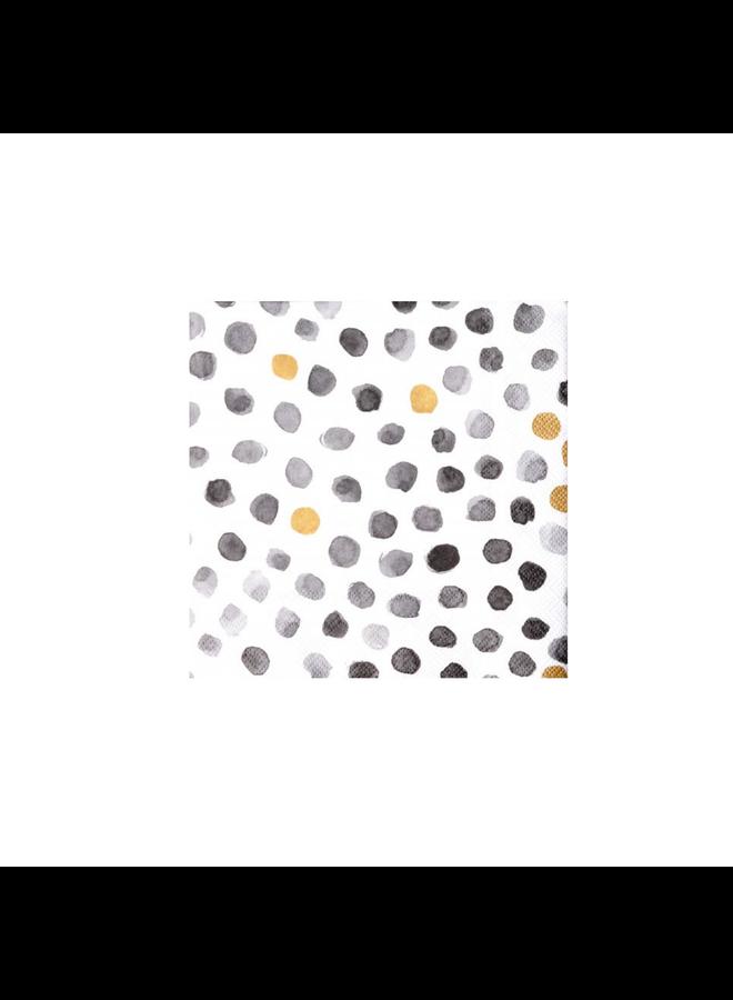 Mix & Match Napkin dots grey/gold 33x33cm