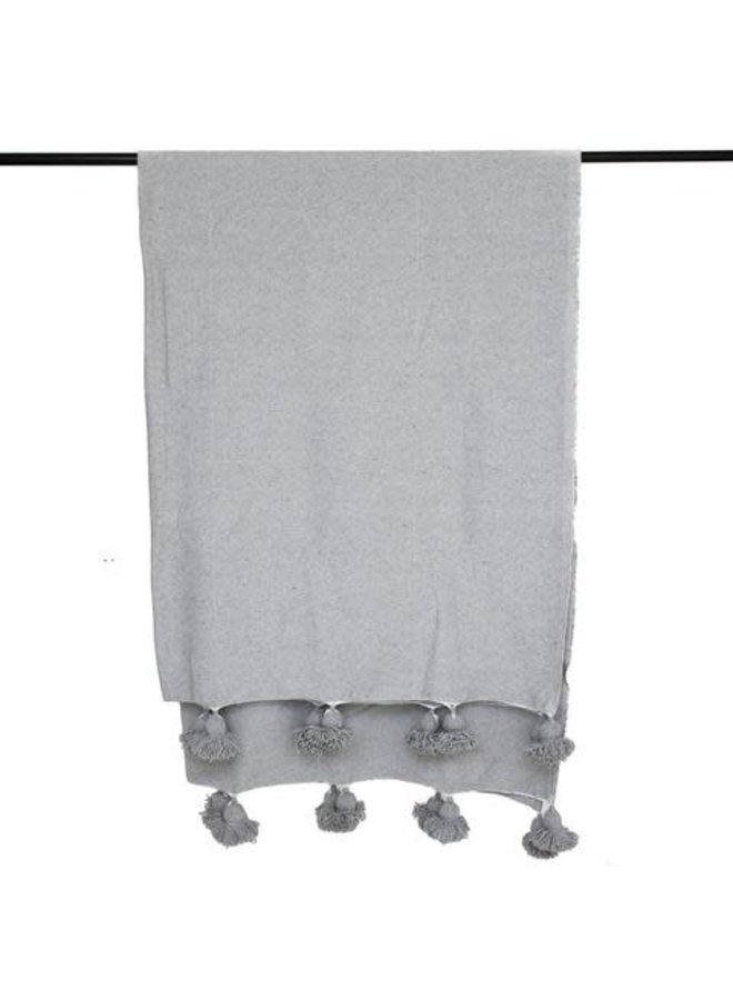Pompom blanket M grijs