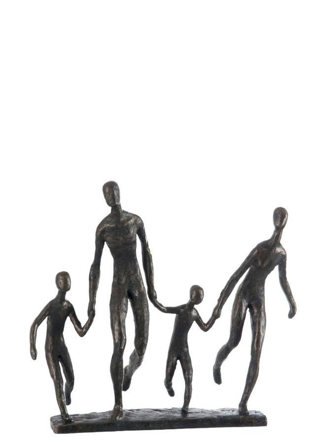 Familie lopend bruin