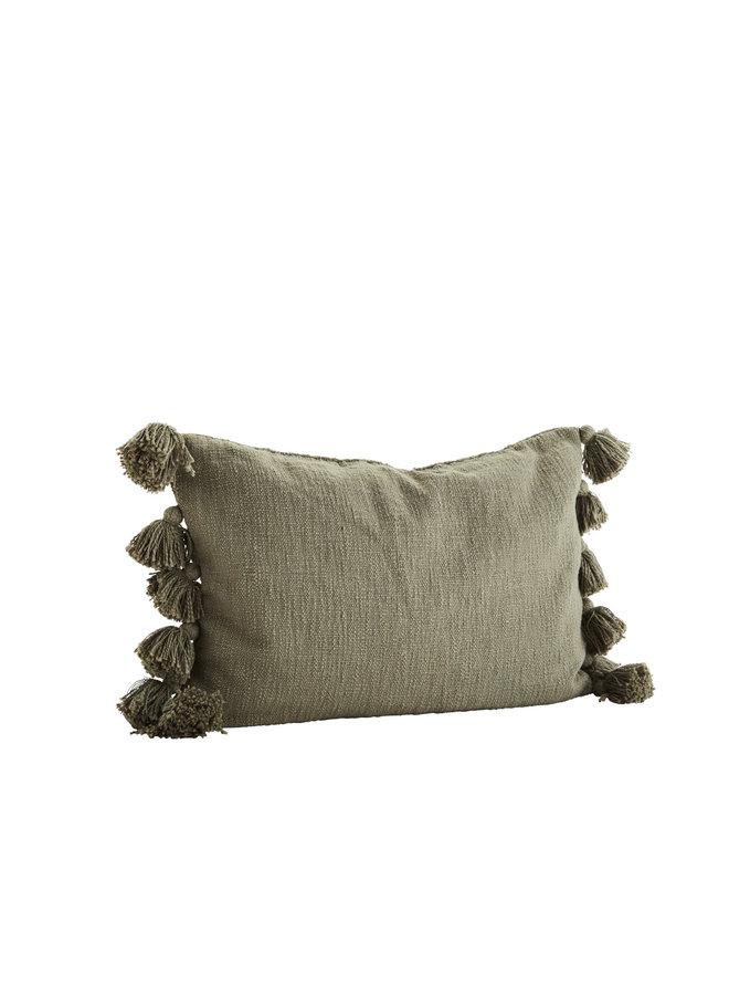 Cushion  w/ tassels Cotton - Olive