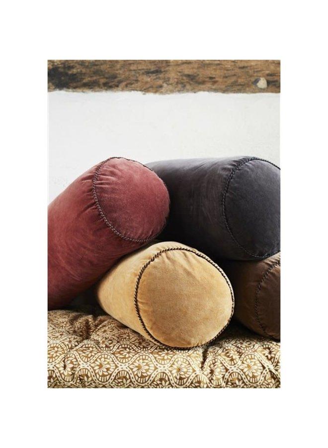 Velvet bolster cushion Caramel