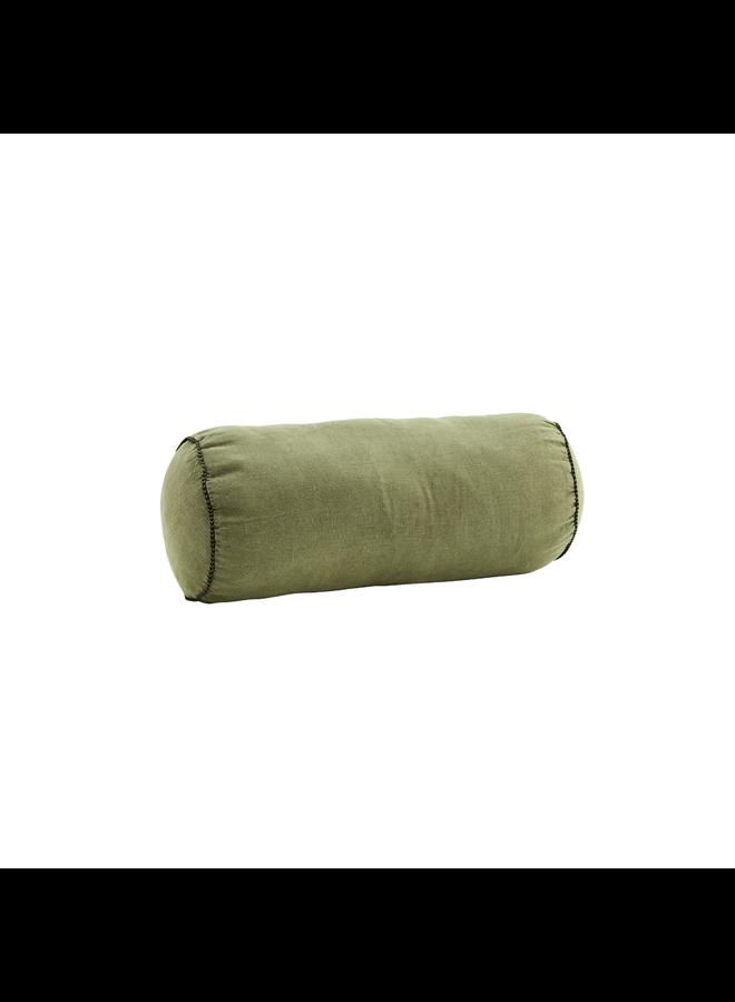 Linnen bolster cushion Olive