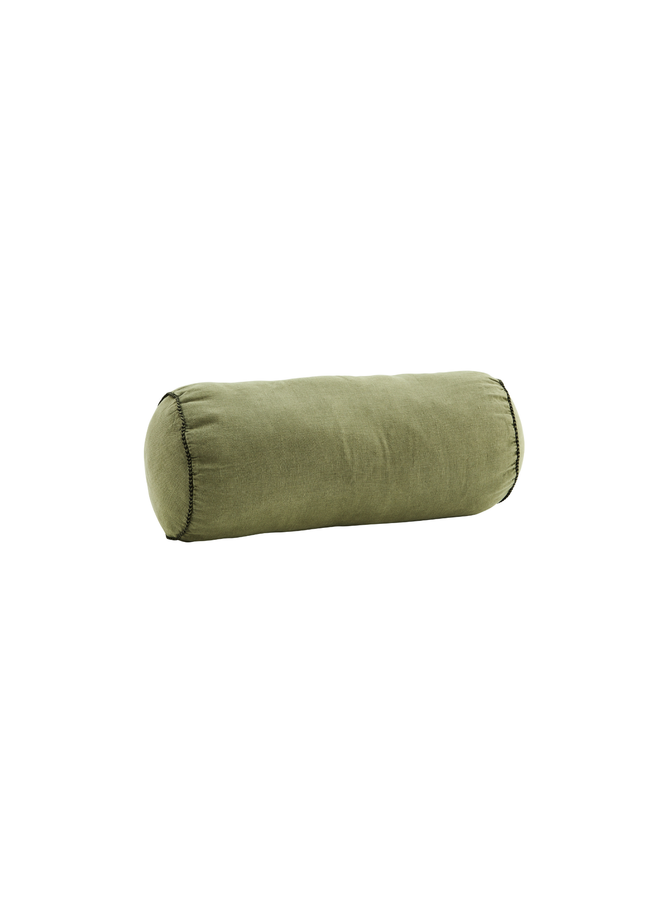 Linen bolster cushion Olive