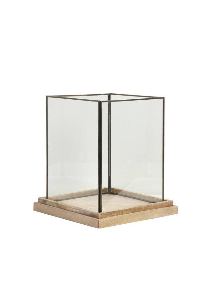 Windlicht 20x20x26 cm BILLUND glas op hout