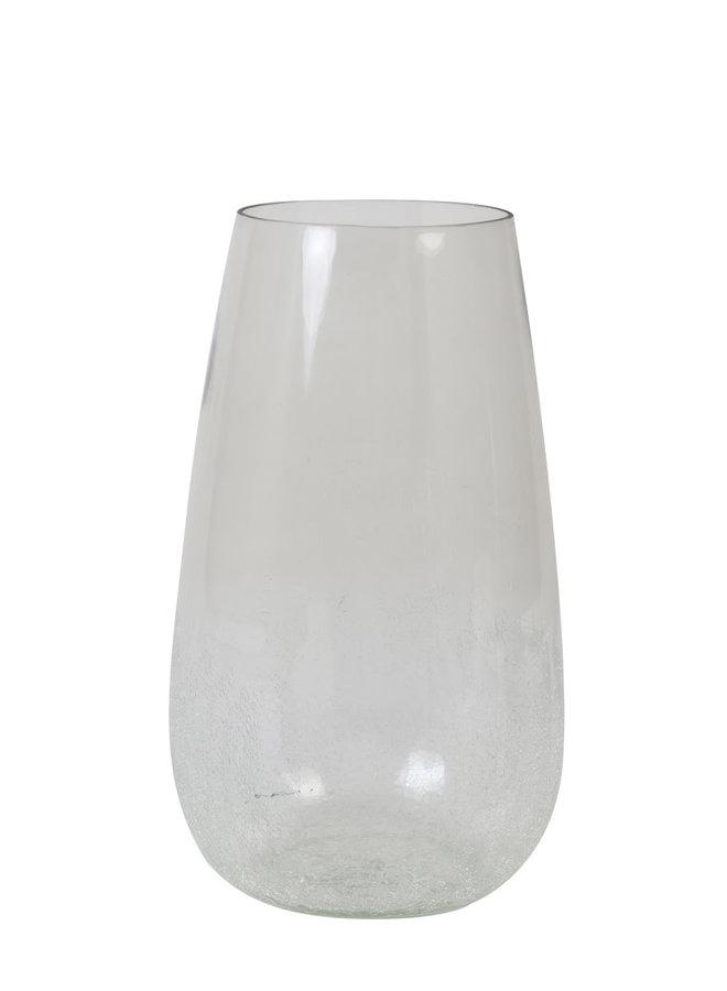 Vaas Ø23x41 cm PERLY glas transparant-licht grijs