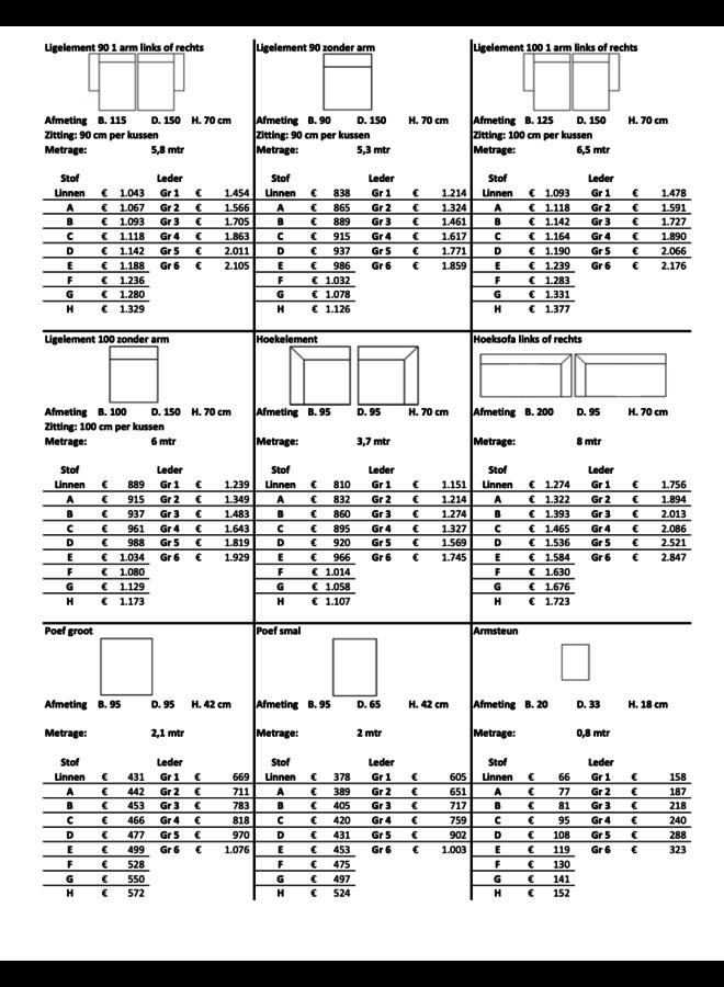 Elementenbank  2.75 Zits arm links