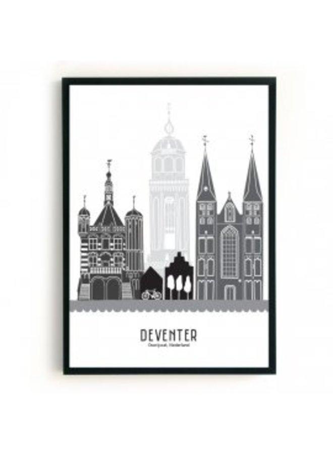 B2-poster Deventer zwart-wit-grijs