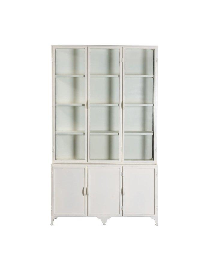Vitrinekast Detroit white | 6-deurs | metaal | 240 x 142x28cm