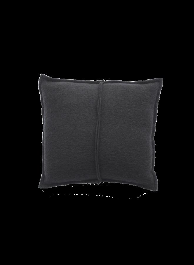 Kussen wol naad zwart 45x45cm
