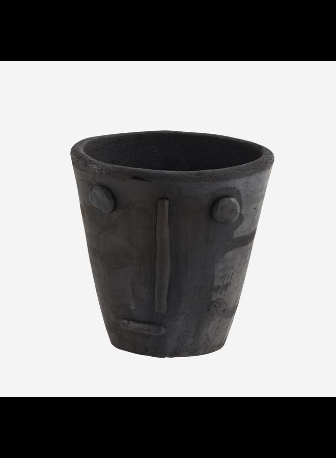 Handmade clay flower pot w/ face imprint