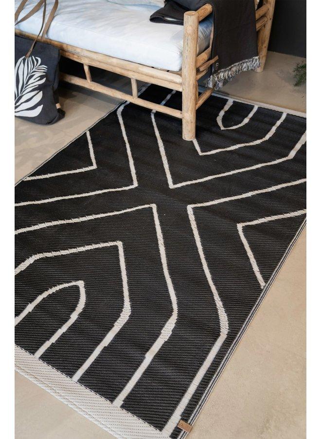 buitenkleed grafisch patroon 120x180cm zwart