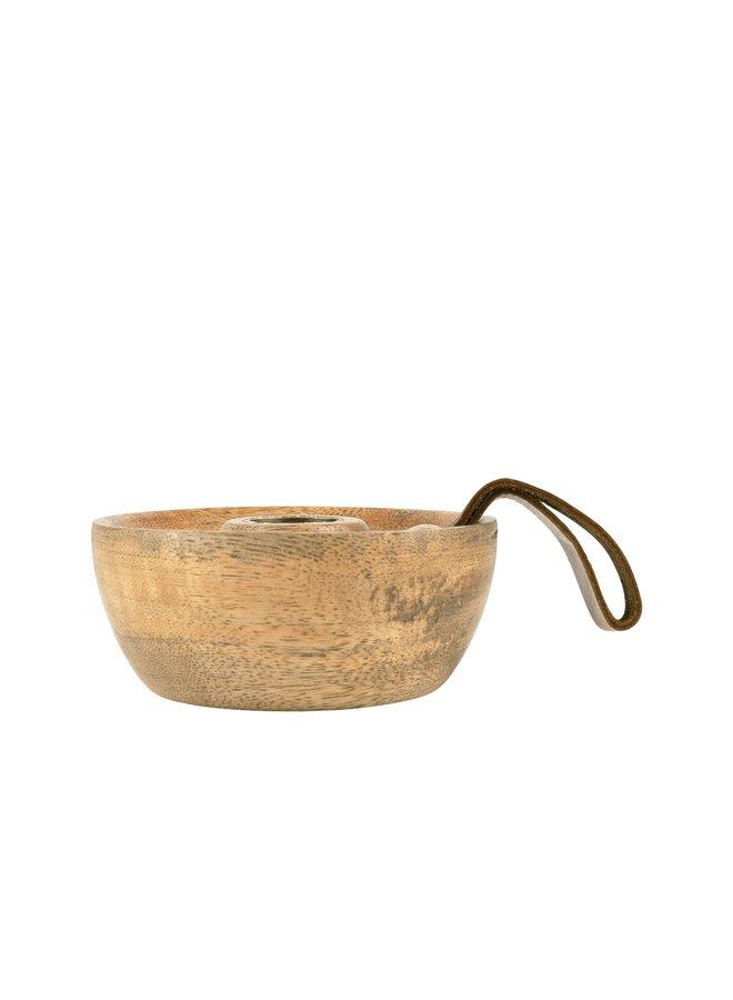 kandelaar met leren lus mangohout