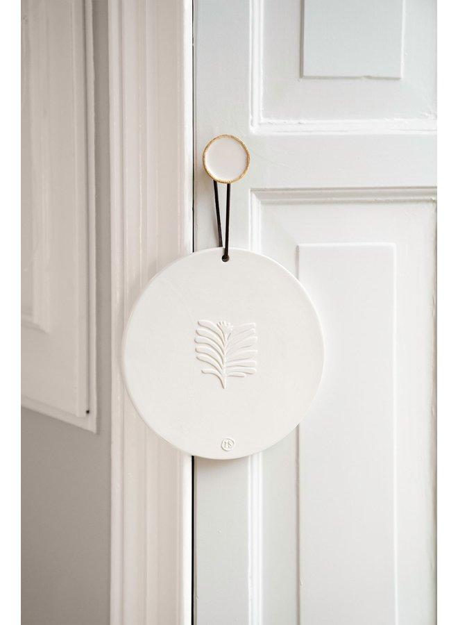 wandbordje van keramiek blad Ø20cm wit