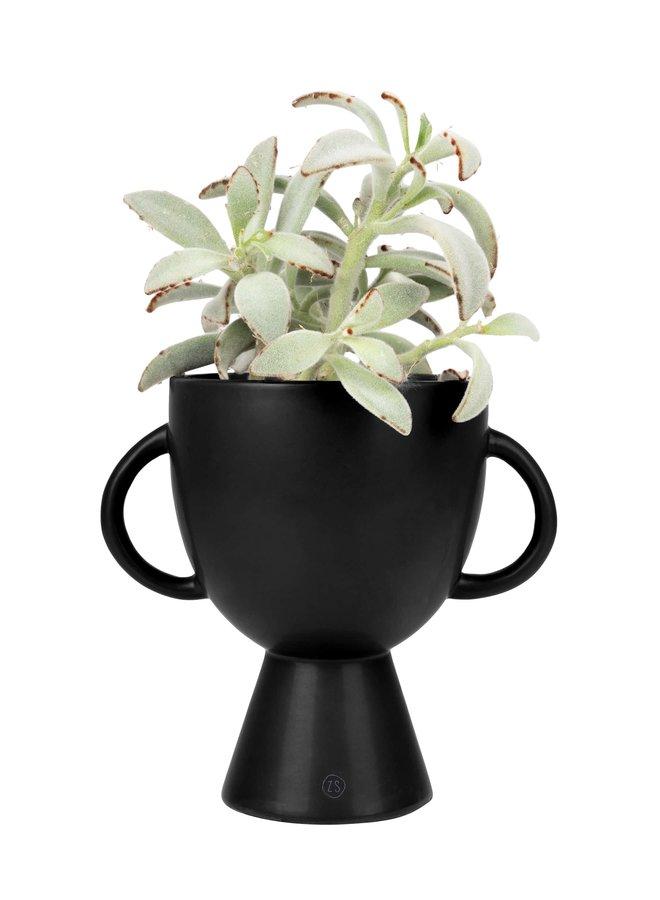 bloempot met handvatten keramiek Ø15x20cm zwart