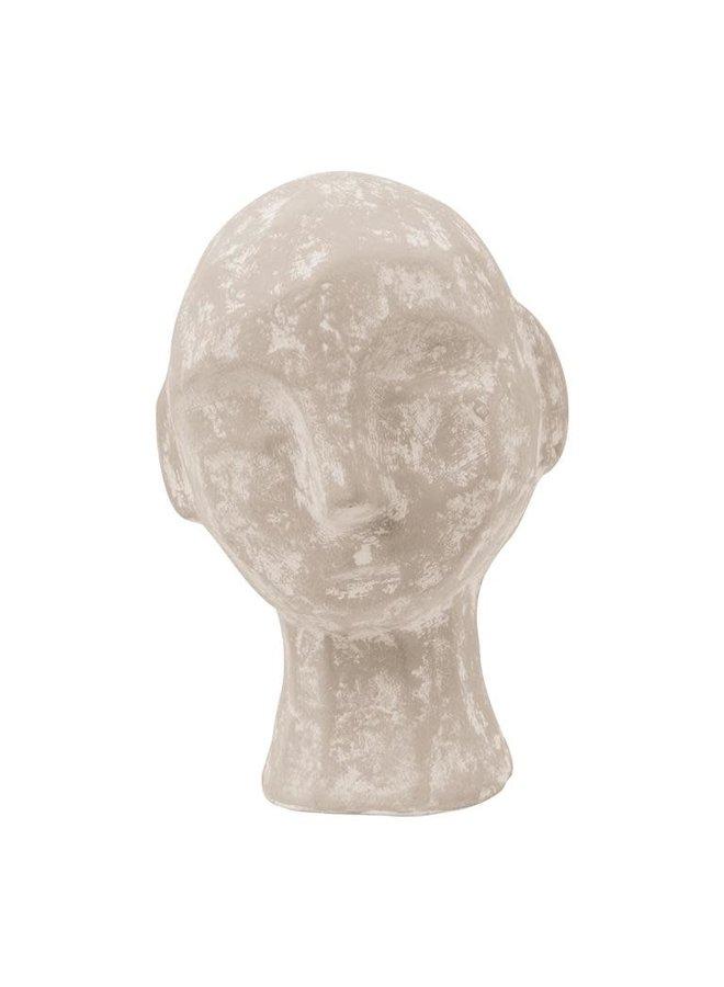 Ecomix sculpture head small sand 13.5x12.5x20cm