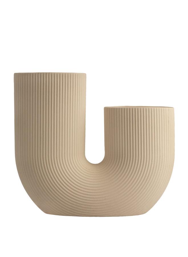Stråvalla - Beige ceramic vase