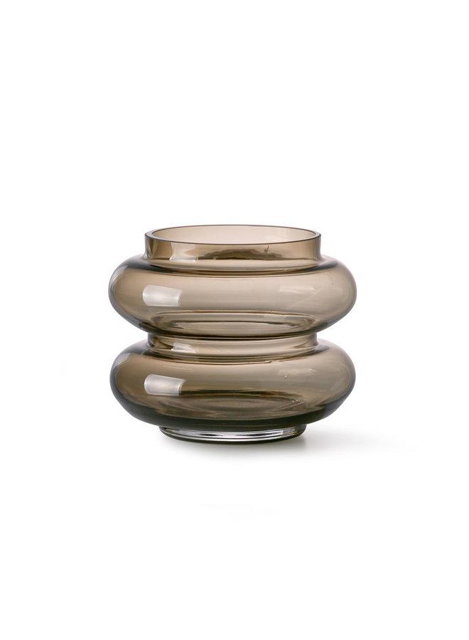 smoked brown glass vase S
