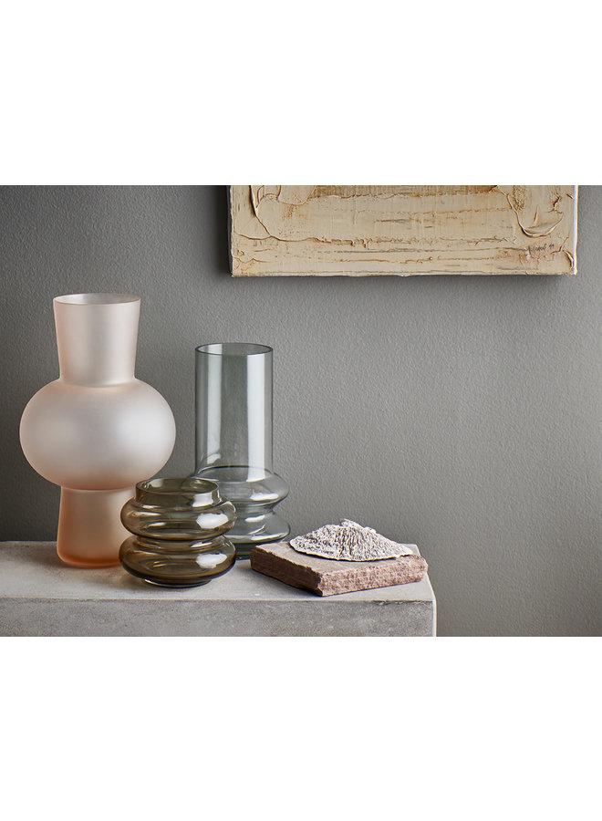 Glass flower vase S matt peach