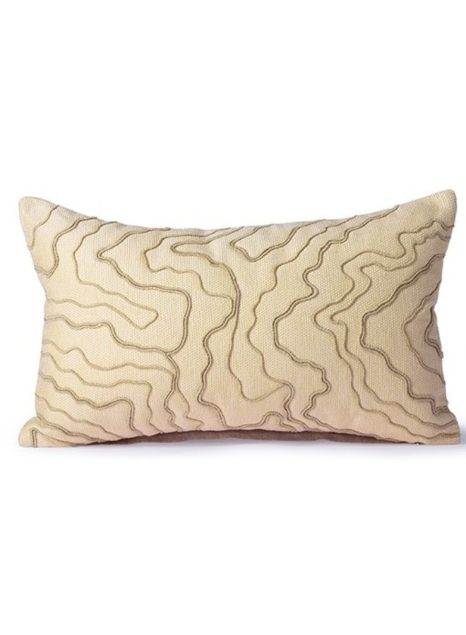 Cream cushion/stitched lines
