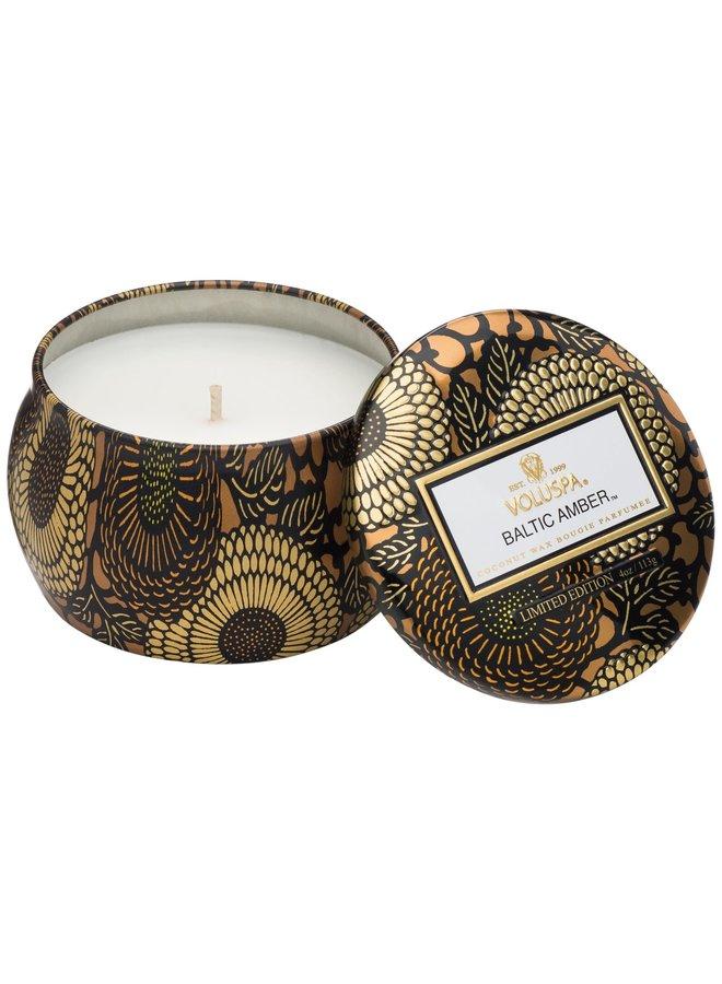 baltic amber mini tin candle