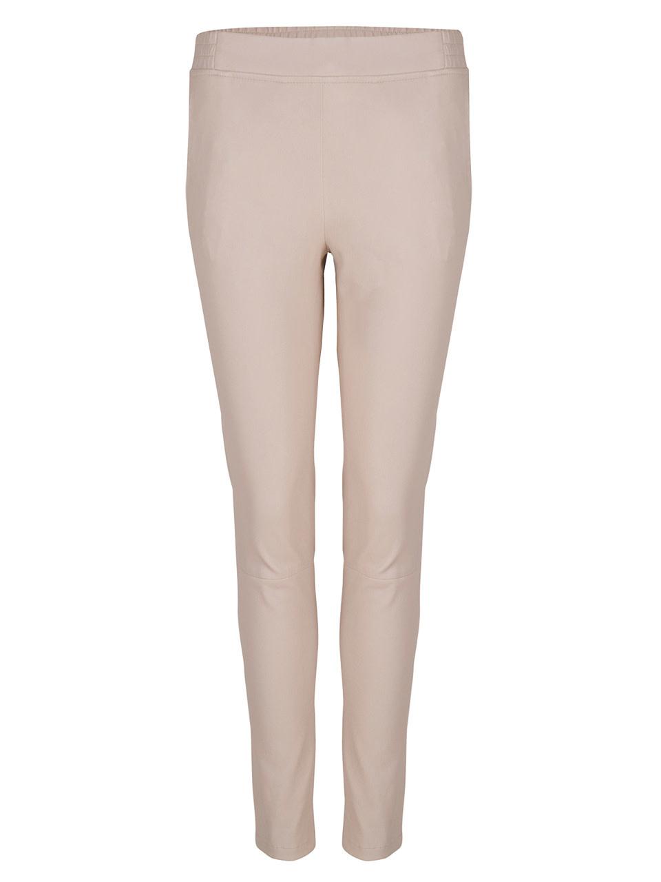 Lebon leather stretch pants Sand-1