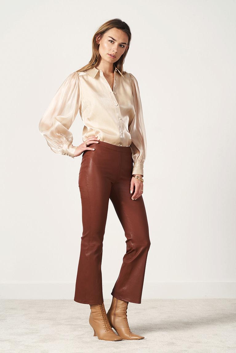 Tyson Crop Flare Leather Pants-4