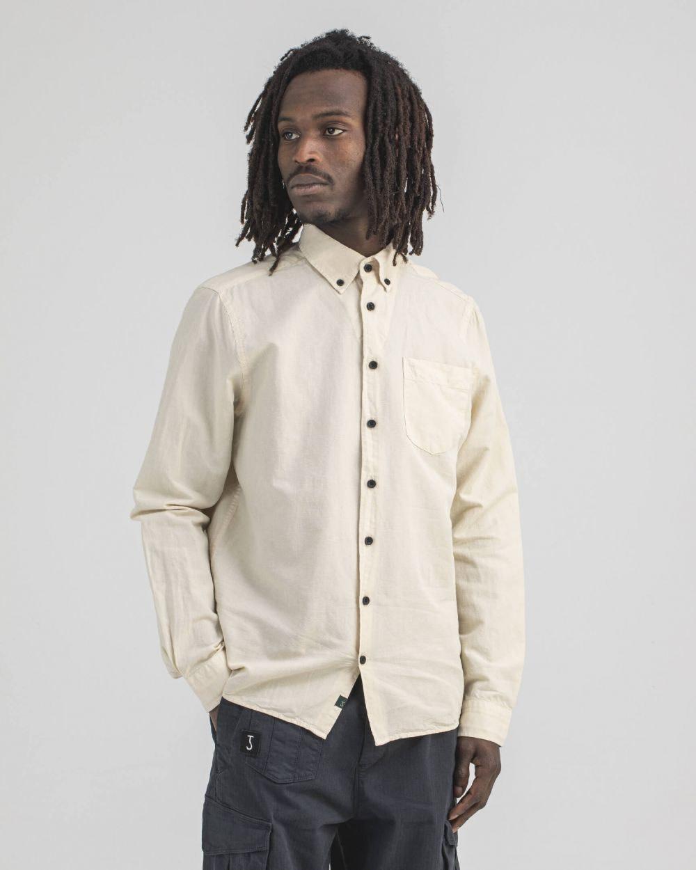 Robins Linnen Shirt Chalk-1