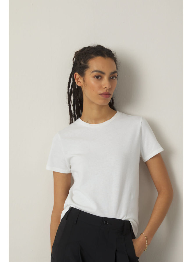 Basic Tee cotton + Linnen Ivory