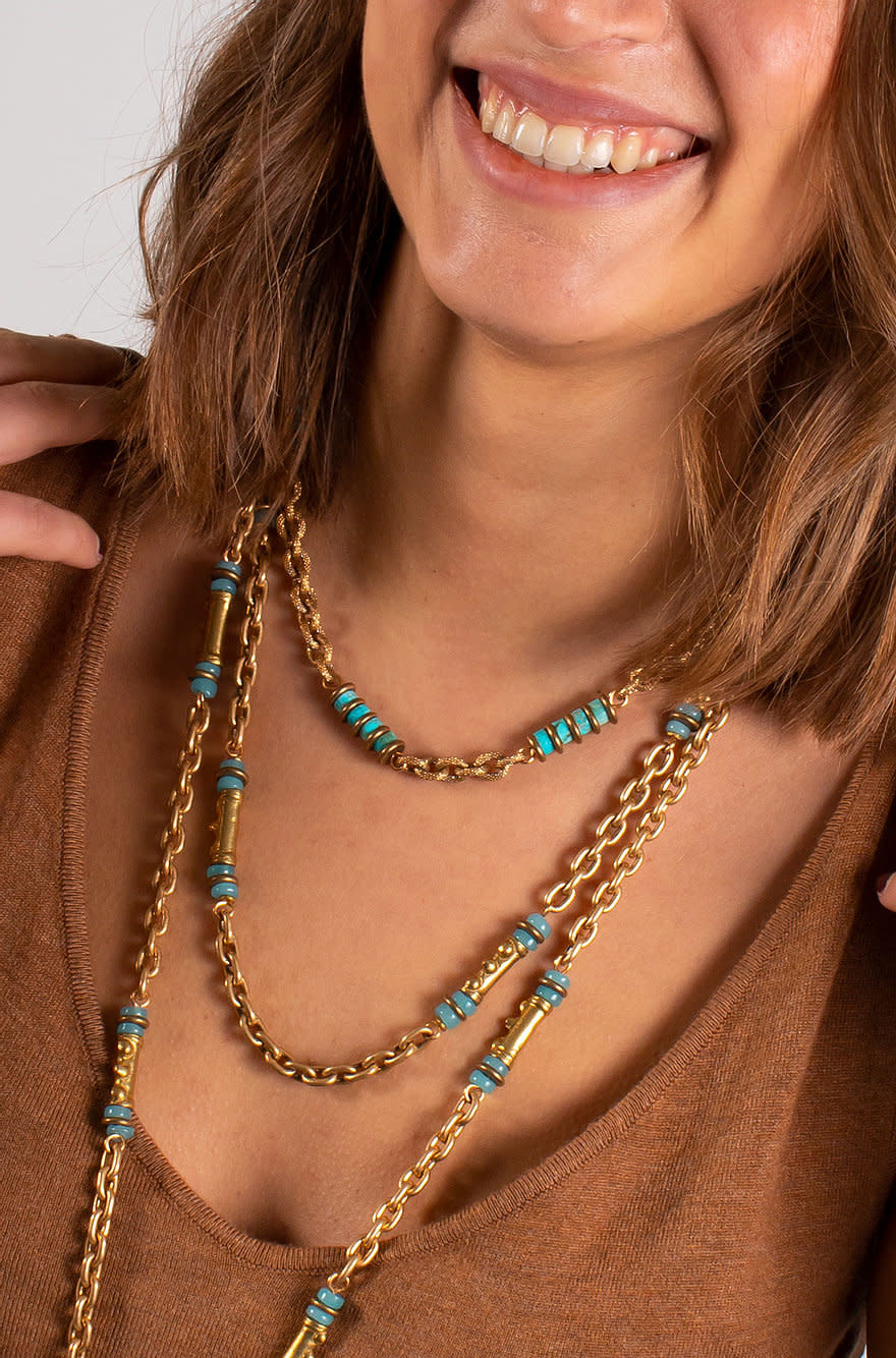 Freddo chain necklace turquoise-2