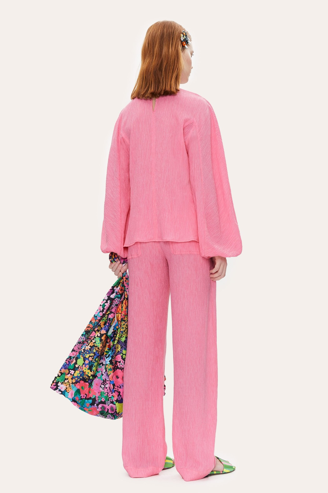 Ida Crinkled Tencel blouse Pink-4