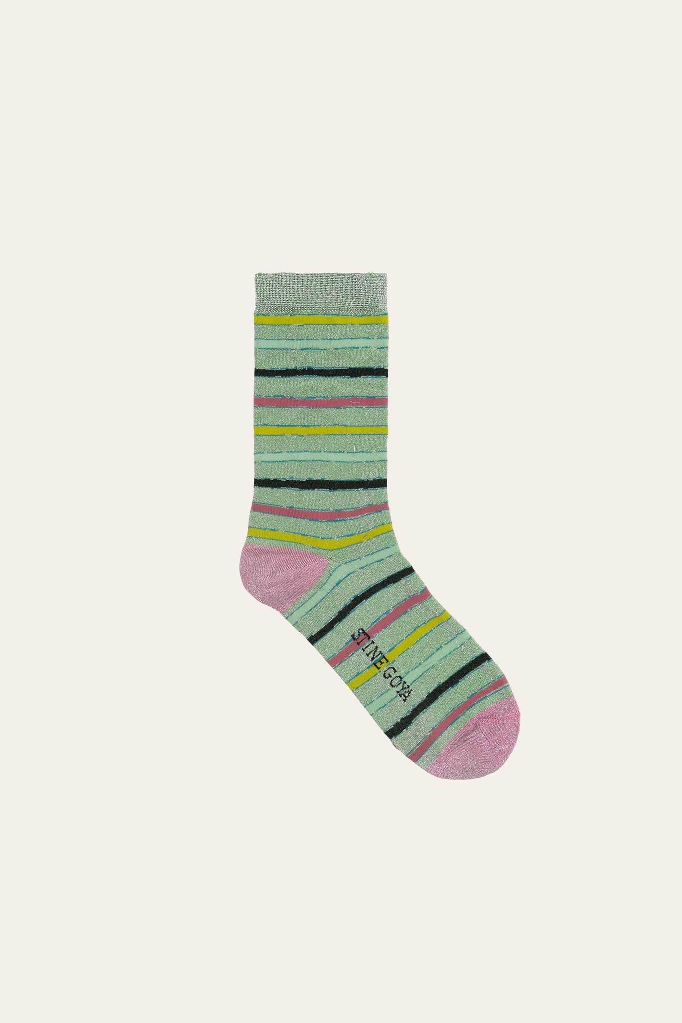 Caty socks stripes green-1