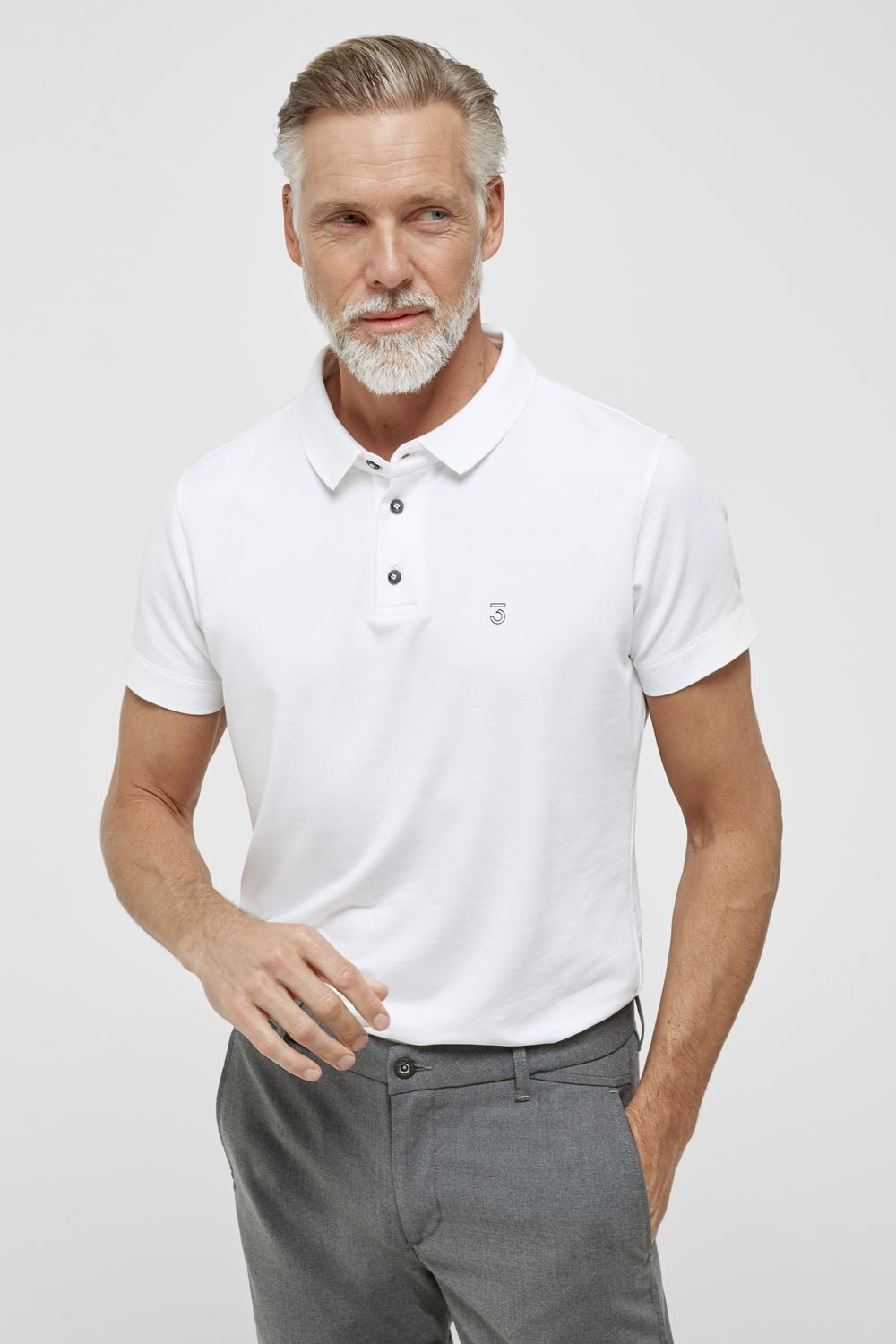 High comfort Lyocell Polo white-1