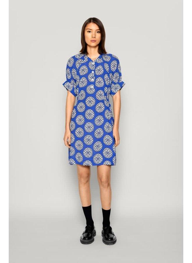 Ashley dress white Blue rosette