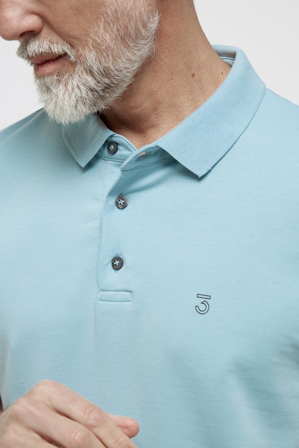 High comfort Lyocell Polo pale sky-2