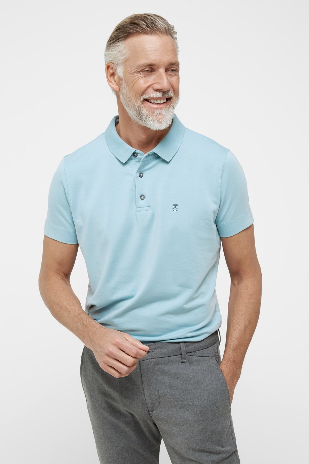 High comfort Lyocell Polo pale sky-1