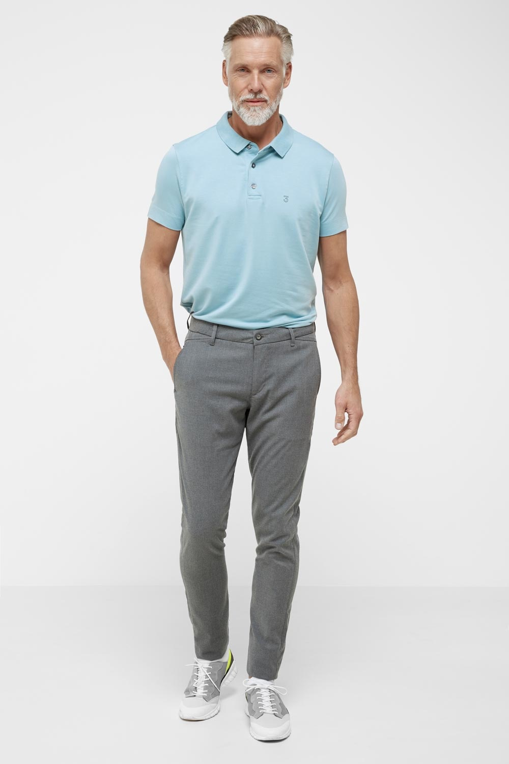 High comfort Lyocell Polo pale sky-4