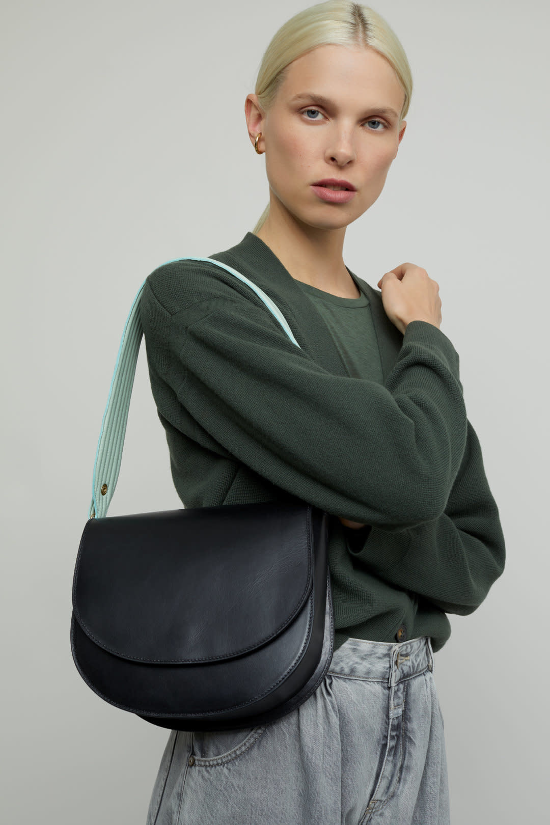 Ally M bag Black leather incl strap-9
