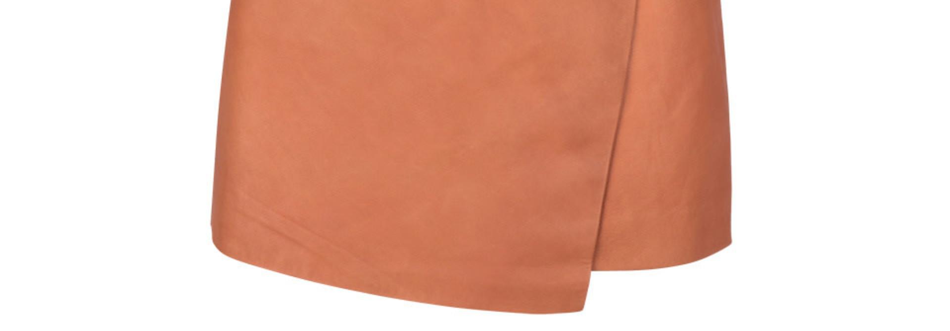 leith leather skirt pumpkin latte