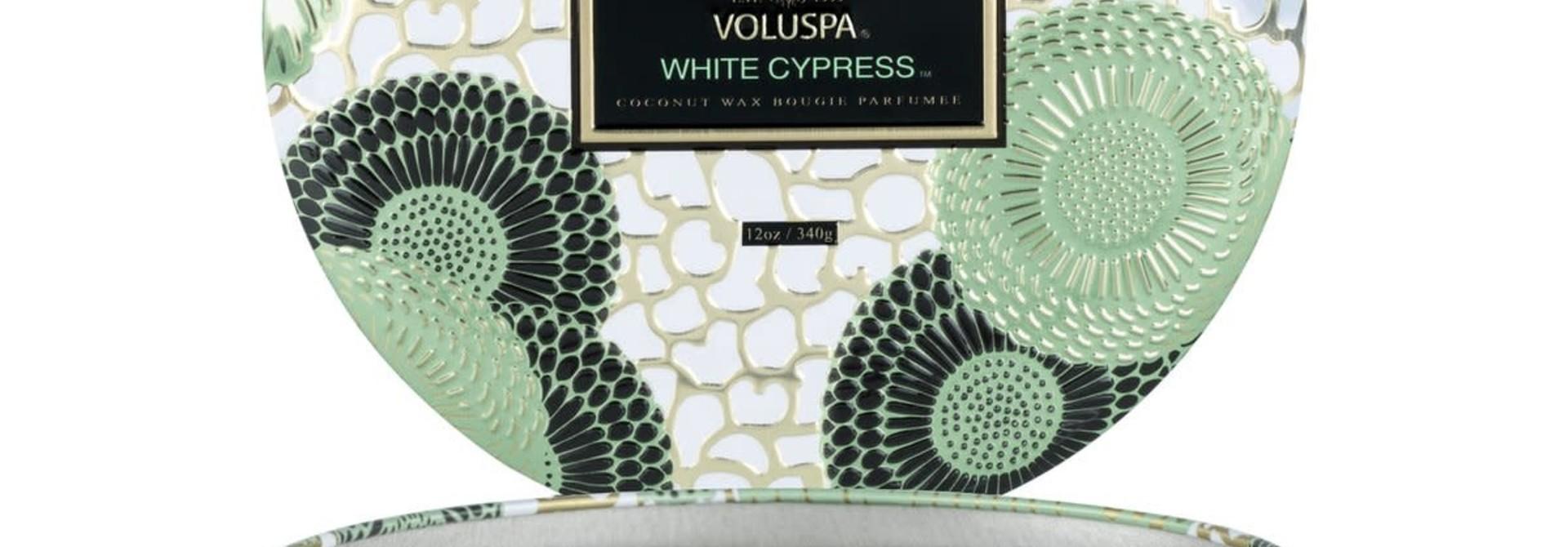 White Cypress 3W tin candle