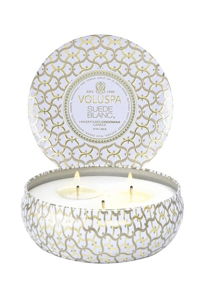 Suede Blanc 3 wick Candle Tin