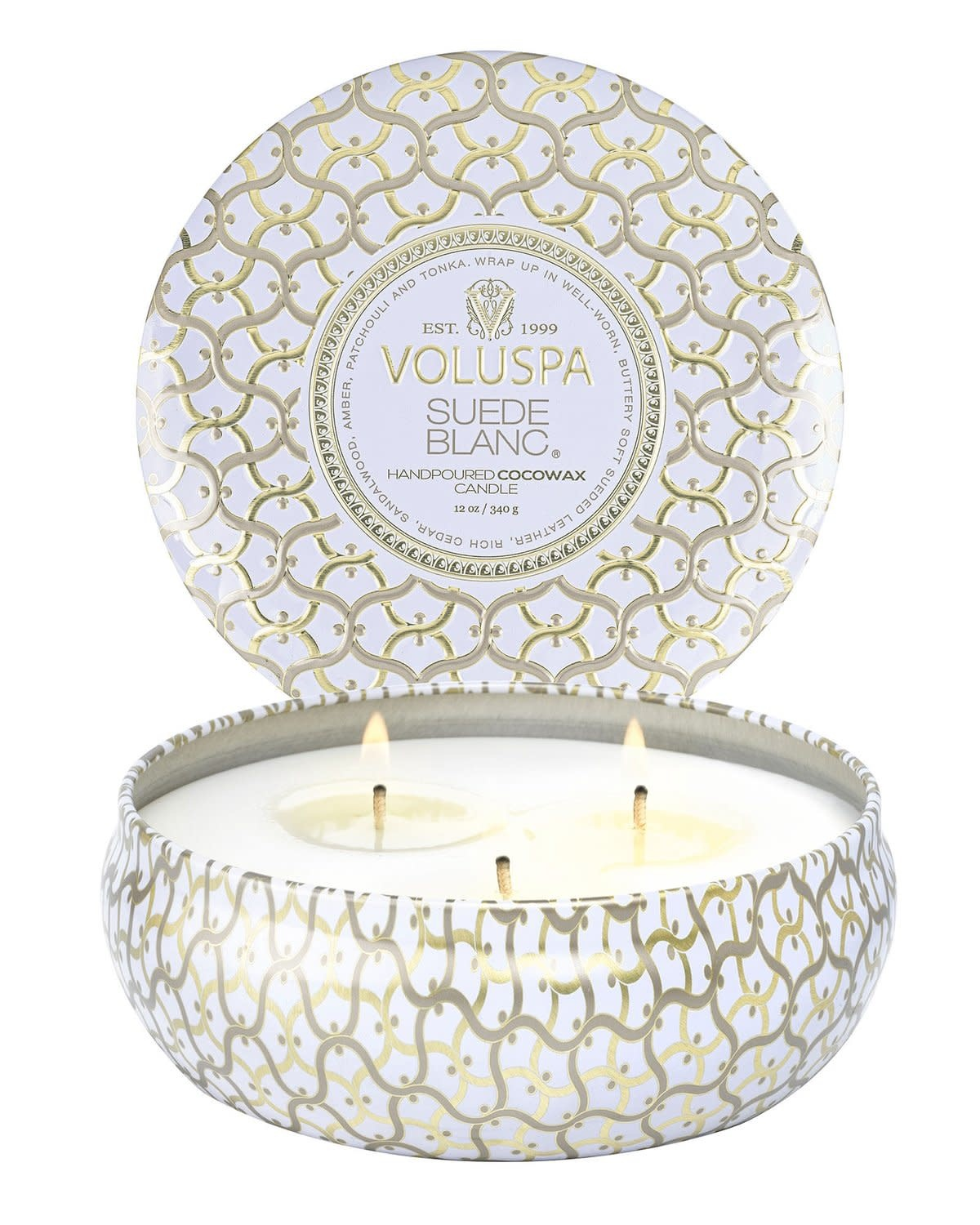 Suede Blanc 3 wick Candle Tin-1