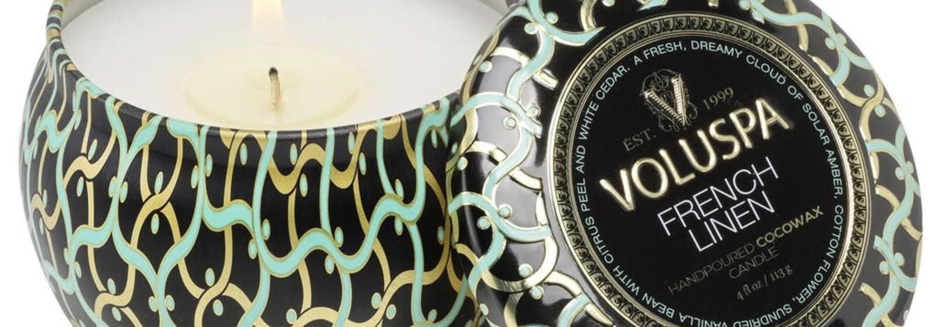 French linen Mini Decorative Tin Candle
