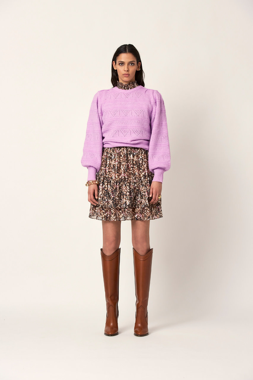 Valana ajour sweater pastel Pink-3