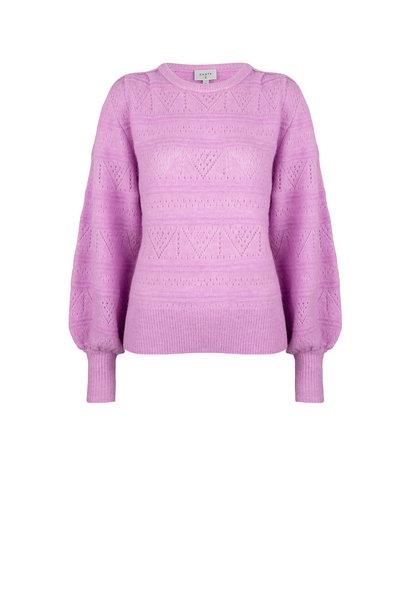 Valana ajour sweater pastel Pink