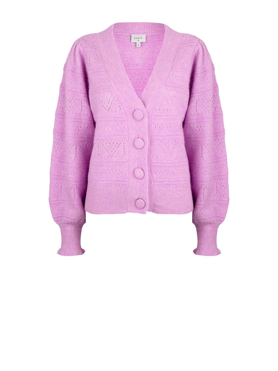 Kaileen  ajour cardigan pastel Pink-1