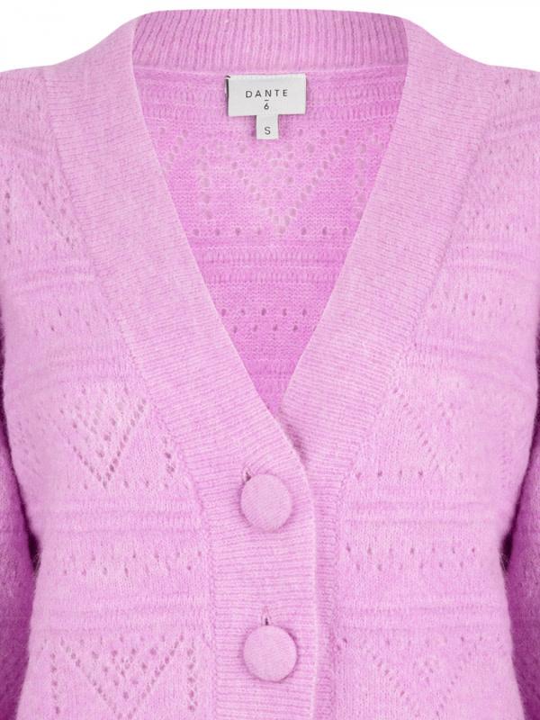 Kaileen  ajour cardigan pastel Pink-3