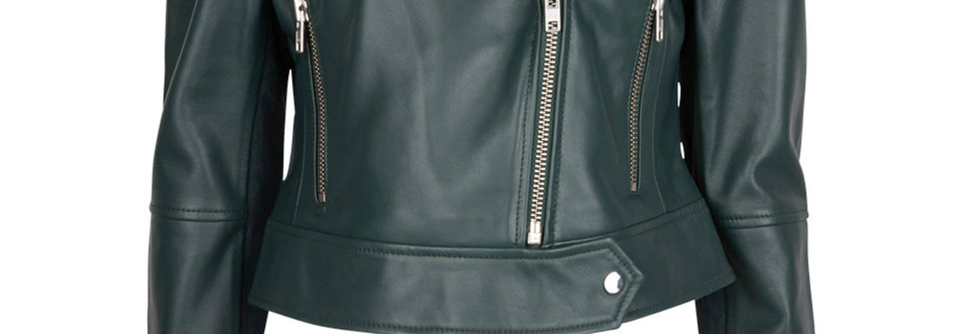 Jae Leather Jacket oil green